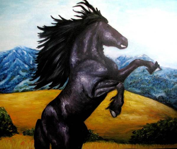 Horse Poster featuring the painting Horse oil painting by Natalja Picugina