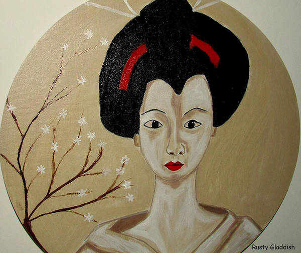 Japanese Poster featuring the painting Kabuki Girl by Rusty Gladdish