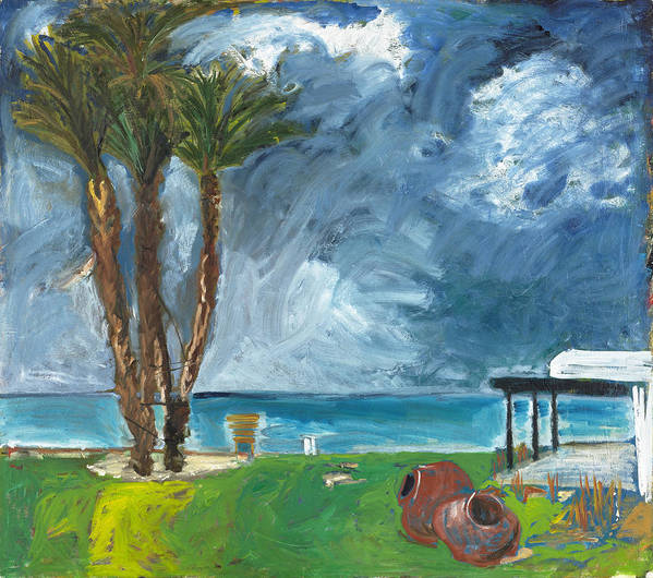 Cyprus Tree Palmtree Water Sea Blue Turquoise Green Field Grass Yellow Weather Clouds Storm Grey Whi Poster featuring the painting Latchi by Joan De Bot
