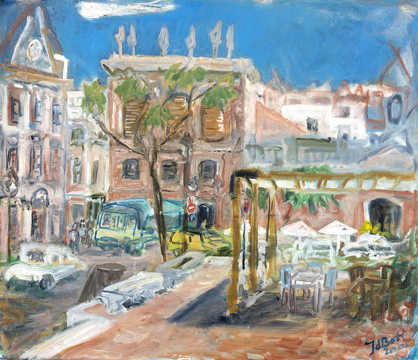 Menorca Spain Town Houses Pink Buildings Cars Trees Taverna Sunny Blue Sky Table Chairs Umbrella Poster featuring the painting Menorca II by Joan De Bot
