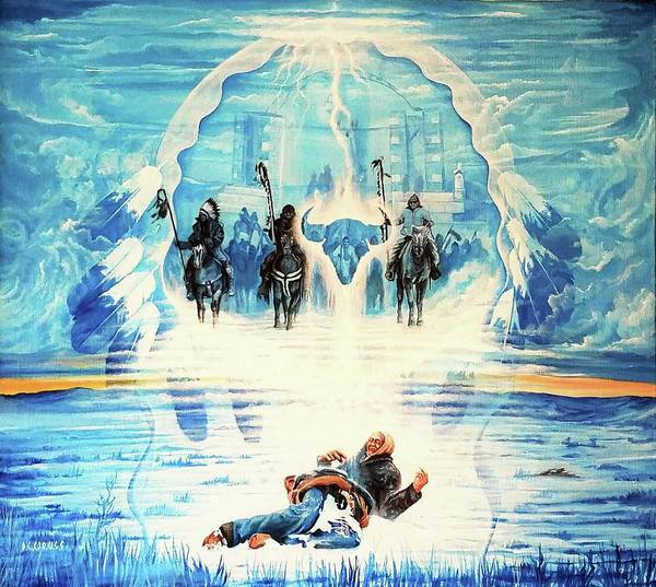 Wounded Knee Poster featuring the painting Never Forgotten by DC Houle
