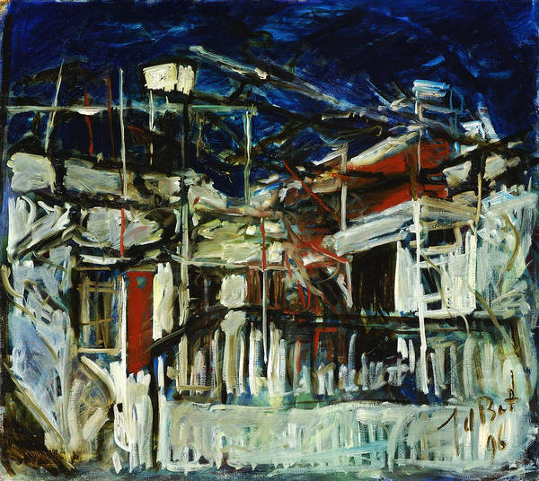 Cyprus House Night Darkness Blue White Red Village Poster featuring the painting Pissouri Village House by Joan De Bot