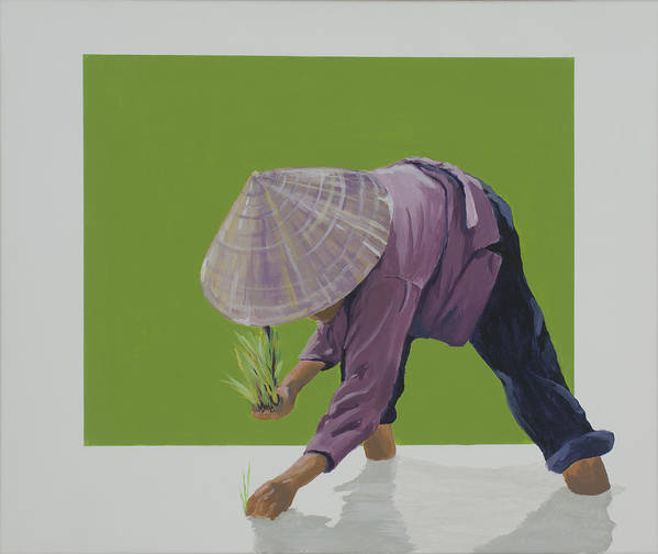Asian Woman Planting Rice. Poster featuring the painting Planting Season by Marston A Jaquis