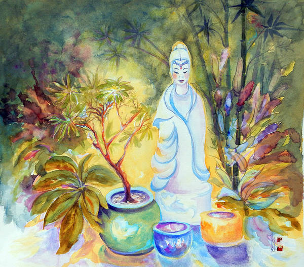 Gardens Poster featuring the painting Quan Yin Garden by Caroline Patrick