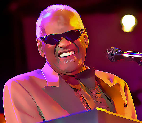 Ray Charles Poster featuring the mixed media Ray Charles by Marvin Blaine