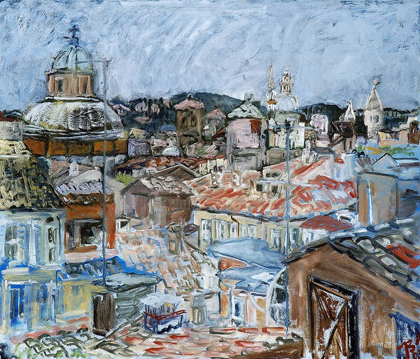 Cityscape Poster featuring the painting Roofs of Rome by Joan De Bot
