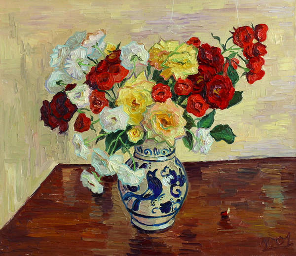 Rose Poster featuring the painting Roses in Chinese vase by Vitali Komarov