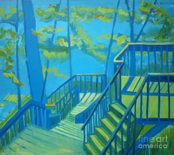 New Hampshire Poster featuring the painting Suncook Stairwell by Debra Bretton Robinson