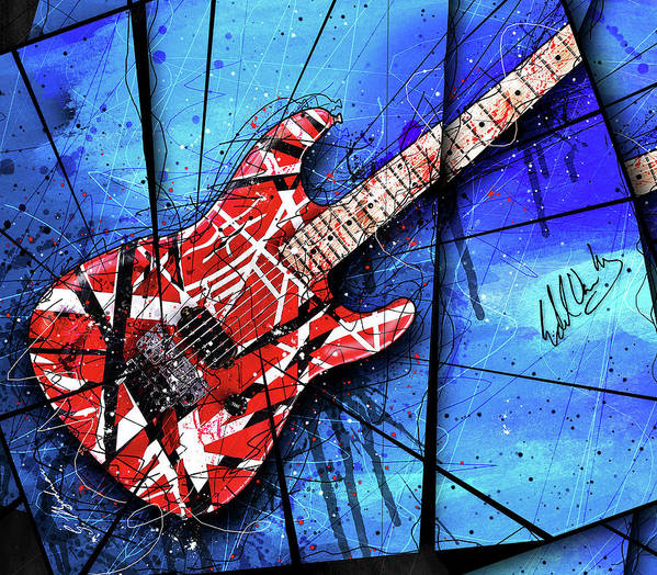 Guitar Art Poster featuring the digital art The Frankenstrat VII Cropped by Gary Bodnar