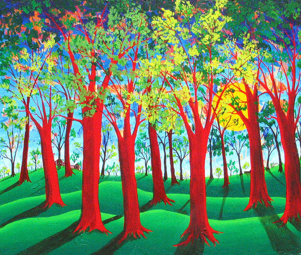 Rollin Kocsis Poster featuring the painting Trees of Red by Rollin Kocsis