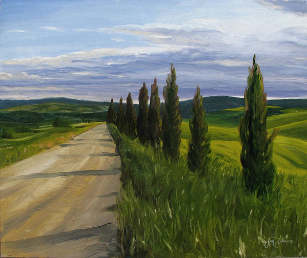 Poster featuring the painting Tuscany Road by Jay Johnson