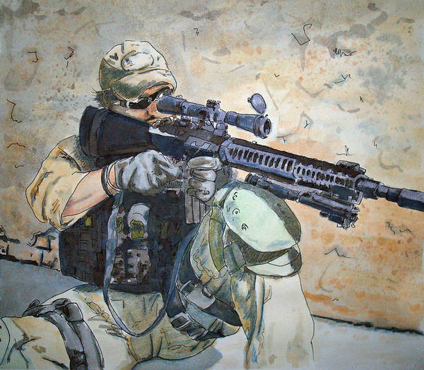 Military Poster featuring the painting Waiting by Kerra Lindsey