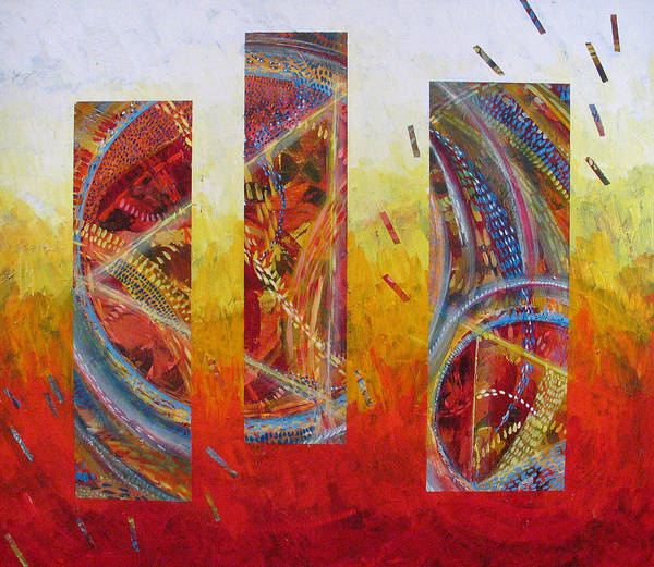 Abstract Poster featuring the painting White Hot by Rollin Kocsis