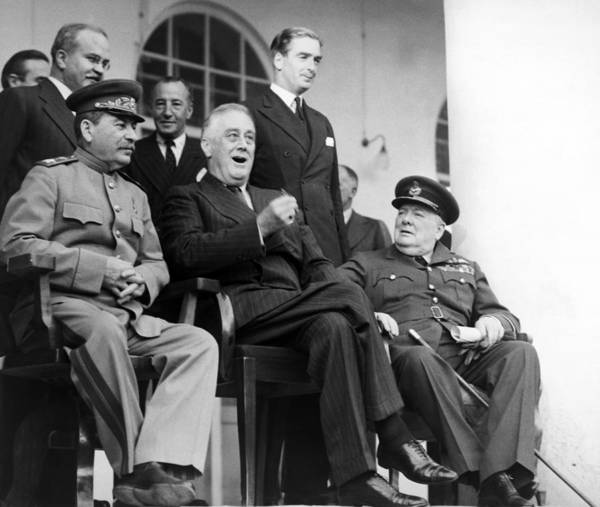 Fdr Poster featuring the photograph The Big Three - Ww2 - Tehran Conference 1943 by War Is Hell Store