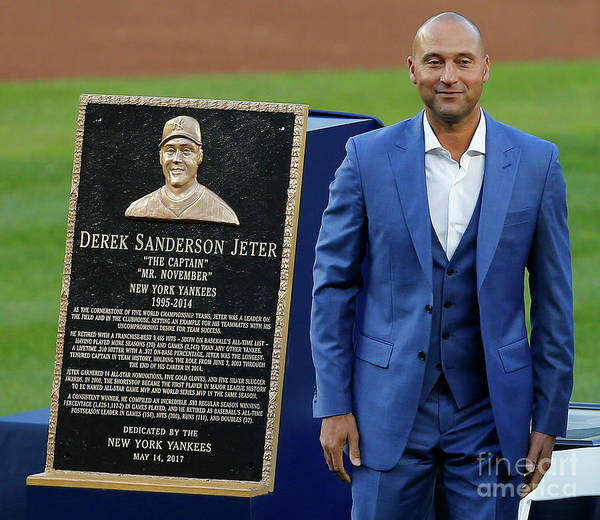 Three Quarter Length Poster featuring the photograph Derek Jeter Ceremony by Rich Schultz