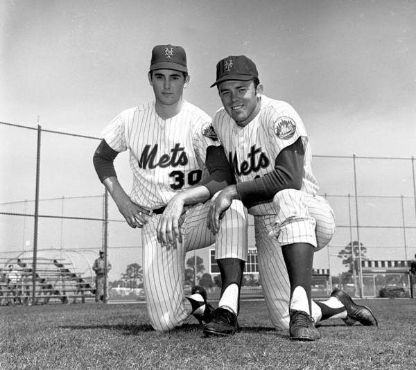 American League Baseball Poster featuring the photograph New York Mets Texas Battery Nolan Ryan by New York Daily News Archive