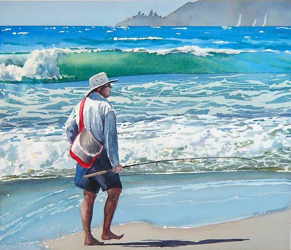 Beach.pismo Beach.ocean Poster featuring the painting Pismo Fisherman by Philip Fleischer