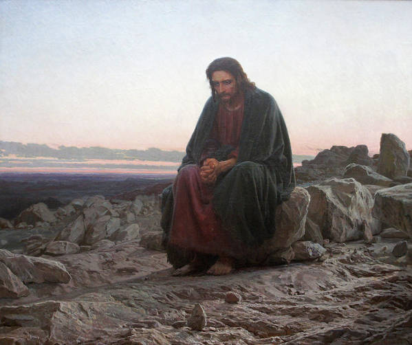 Ivan Kramskoy Poster featuring the painting Christ in the Wilderness by Ivan Kramskoy