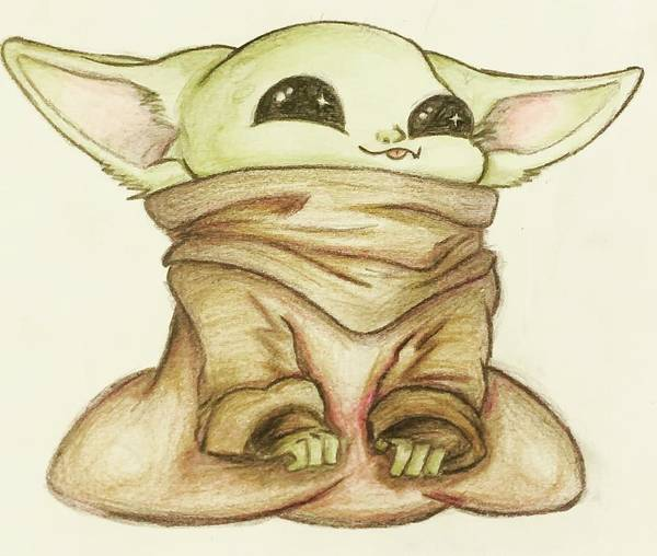 Baby Poster featuring the drawing Baby Yoda by Tejay Nichols