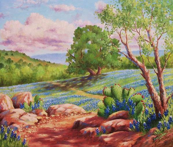 Bluebonnet Poster featuring the painting Bluebonnet Trail by David G Paul