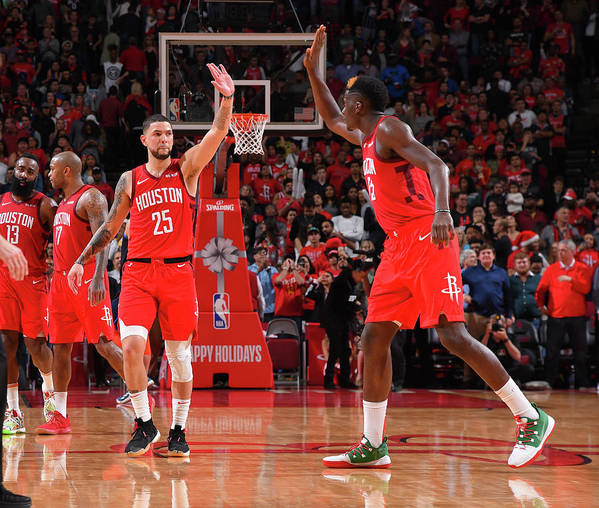 Nba Pro Basketball Poster featuring the photograph Clint Capela and Austin Rivers by Bill Baptist