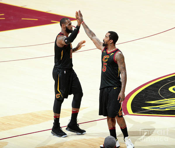 Playoffs Poster featuring the photograph J.r. Smith and Lebron James by Nathaniel S. Butler