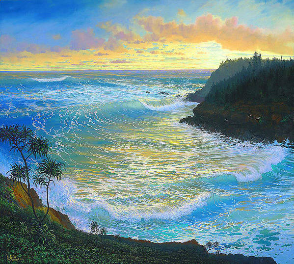 Sunrise Poster featuring the painting Ka Puka Alua Sunrise At Piahi AKA Jawz Painted At Actual Location On Maui by Loren Adams