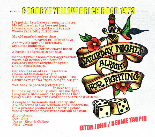 Rock And Roll Poster featuring the mixed media Saturday Nights Alright for Fighting 1973 by David Lee Thompson
