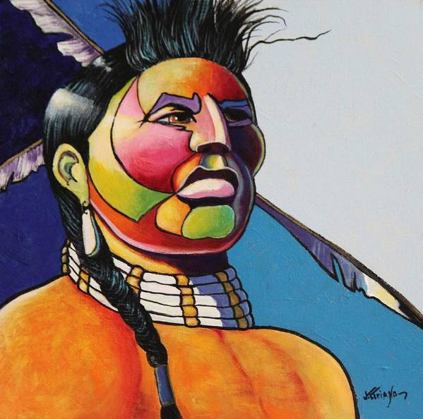 Native American Poster featuring the painting Indian Portrait by Joe Triano