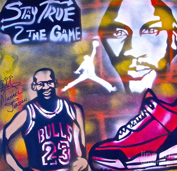 Michael Jordon Poster featuring the painting Truly Michael Jordan by Tony B Conscious