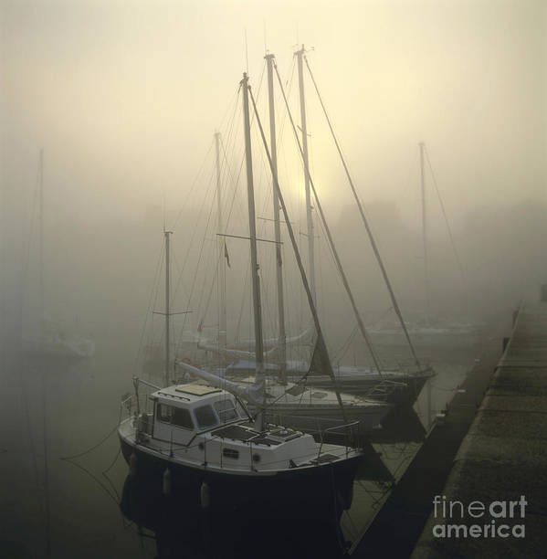 Ambiance Ambient Atmosphere Atmospheric Boat Boats Calvados Day Daylight Daytime During Europe European Exterior Exteriors Filled Fog Foggy France French Full Harbor Harbour Harbour Haze Hazy Honfleur In Mist Mists Misty Mood Mood-filled Moods Nobody Normandy Of Outdoor Photo Photos Port Ports Shot Shots The Poster featuring the photograph Honfleur Harbour In Fog. Calvados. Normandy. France. Europe by Bernard Jaubert