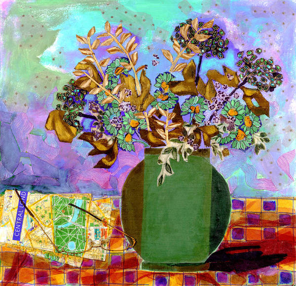 Flowers In A Vase Poster featuring the mixed media London Map by Diane Fine