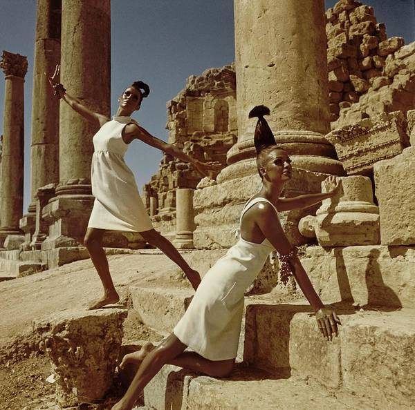 Fashion Poster featuring the photograph Models At Nymphaeum by Henry Clarke