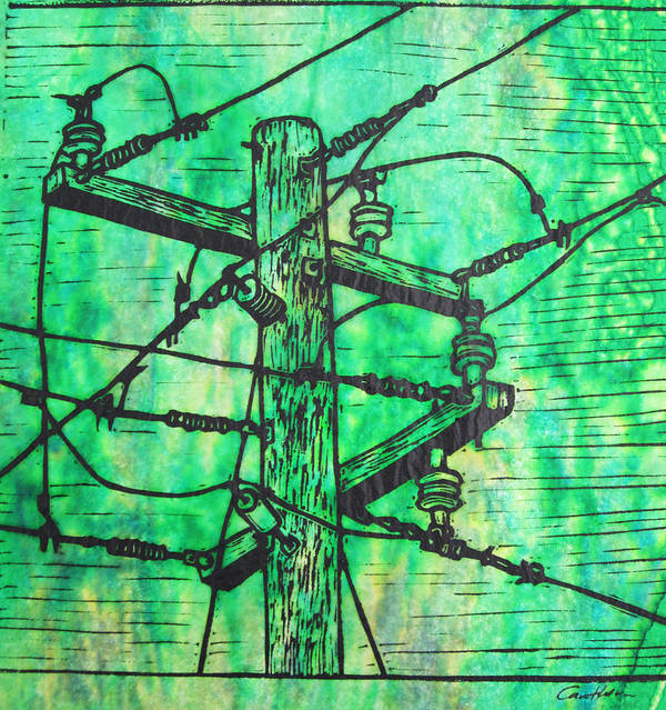Power Poster featuring the drawing Power Lines by William Cauthern