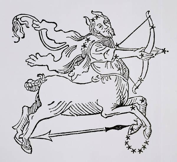 Sagittarius Poster featuring the drawing Sagittarius by Italian School
