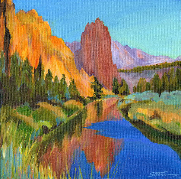 Contemporary Painting Poster featuring the painting Smith Rock Canyon by Tanya Filichkin