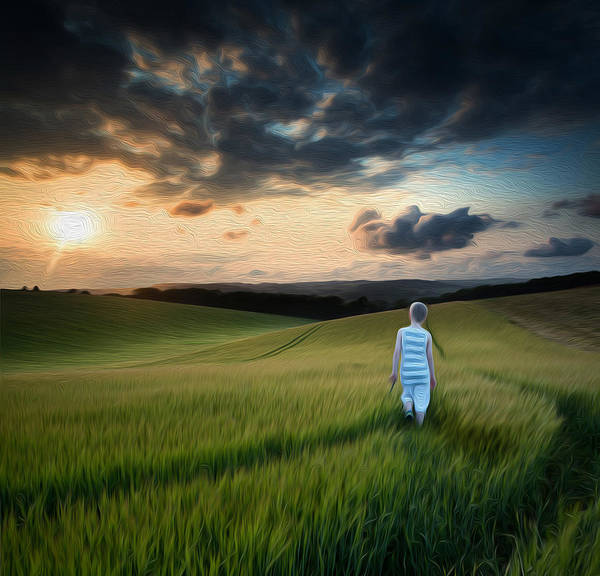 Child Poster featuring the photograph Concept Landscape Young Boy Walking Through Field At Sunset In S by Matthew Gibson