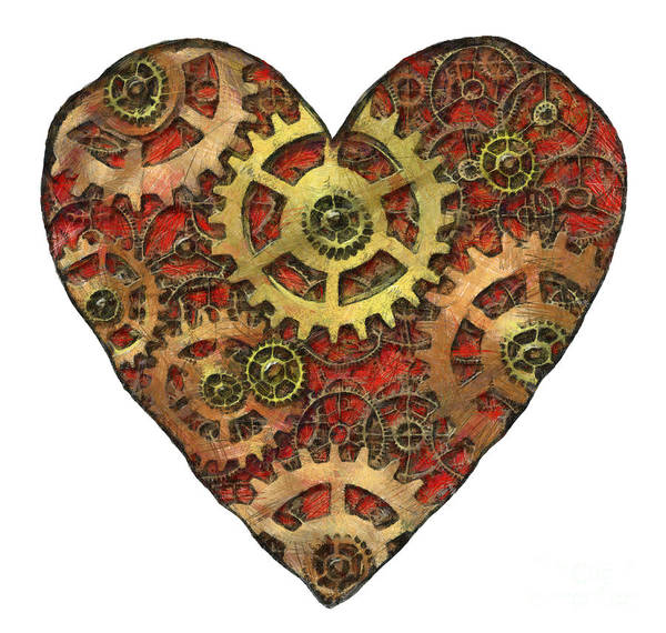 Heart Poster featuring the mixed media Mechanical Heart by Michal Boubin