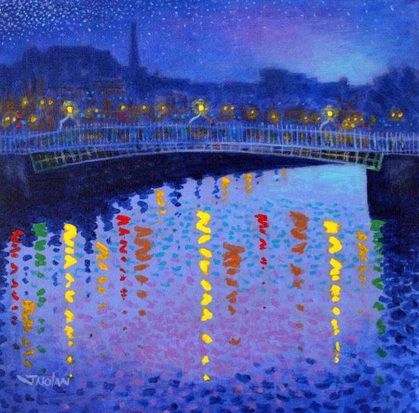 Dublin Poster featuring the painting Starry Night In Dublin by John Nolan
