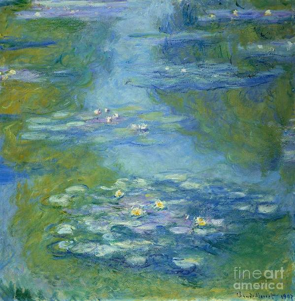 French Poster featuring the painting Waterlilies by Claude Monet