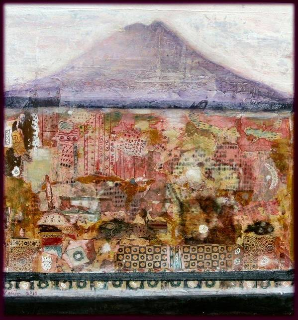 Landscape Poster featuring the mixed media A Piece Of The Mountain by Nalini Cook