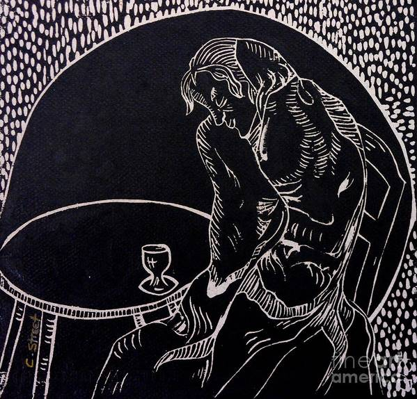 Figurative Poster featuring the relief Absinthe Drinker After Picasso by Caroline Street