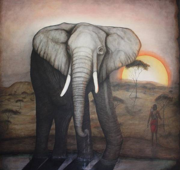 Elephant Poster featuring the painting African Elephant by Donald W White