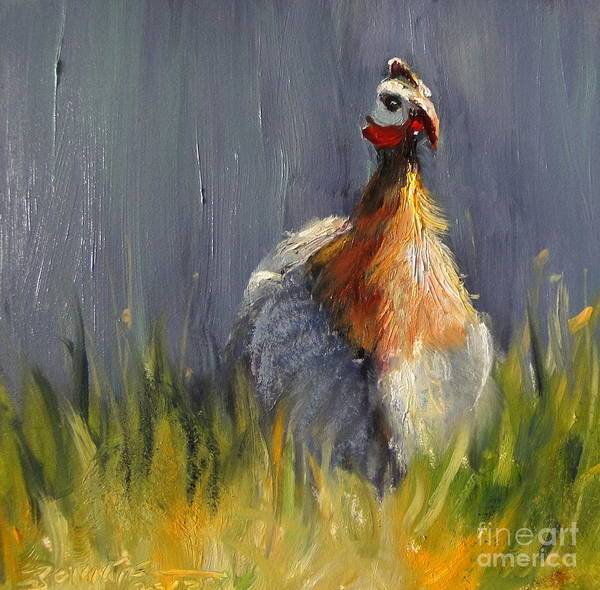 Guinea Hen Poster featuring the painting All Alone by Bonnie Seyford