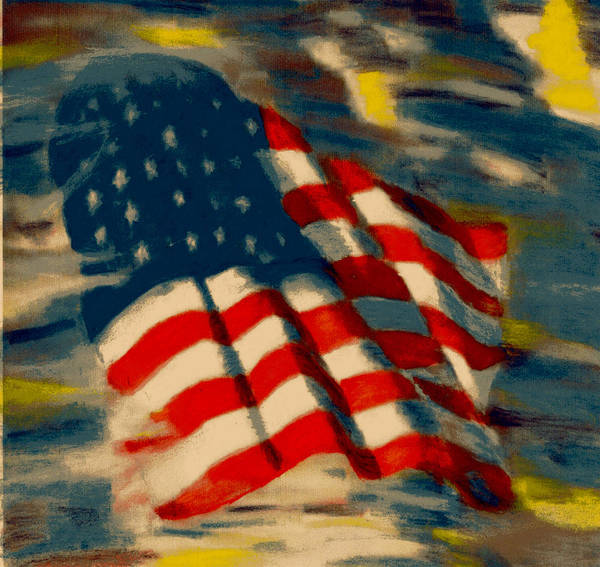 America Poster featuring the pastel American Flag by Patrick McClellan