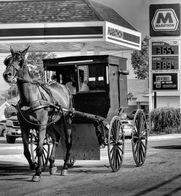Gas Price Poster featuring the photograph Amish Gas by Dan Sproul