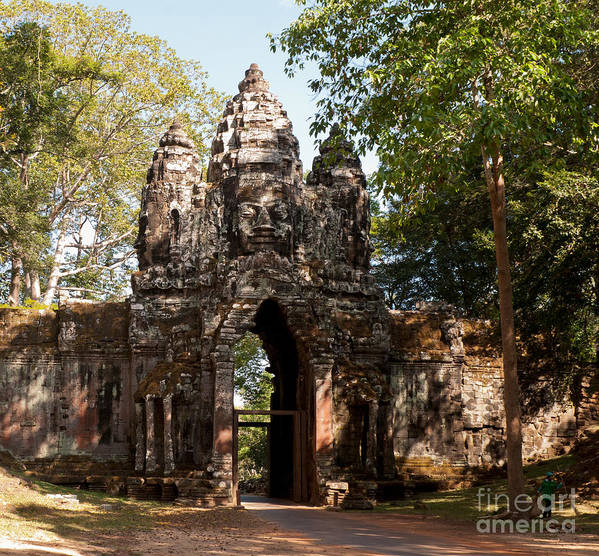 Angkor Poster featuring the photograph Angkor Thom North Gate 02 by Rick Piper Photography