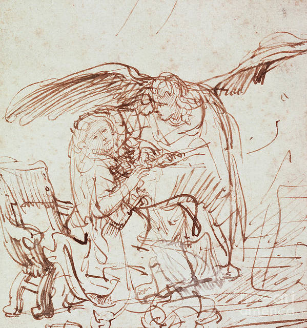 Annunciation Poster featuring the drawing Annunciation by Rembrandt Harmenszoon van Rijn