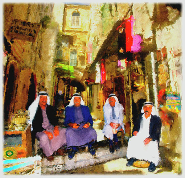 Arab Art Paintings Poster featuring the painting Arab Merchants Of Jerusleum by Ted Azriel