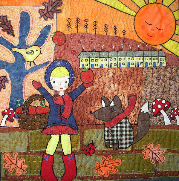 Sunset Poster featuring the tapestry - textile Autumn Sunset by Julie Bull